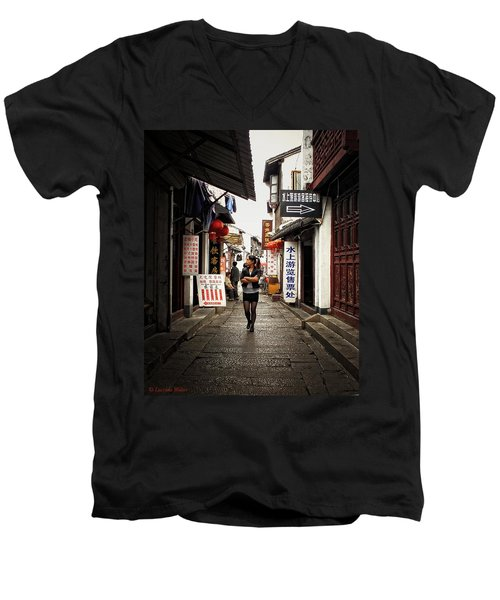Men's V-Neck T-Shirt featuring the photograph City Life In Ancient China by Lucinda Walter