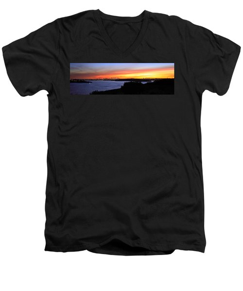 Men's V-Neck T-Shirt featuring the photograph City Lights In The Sunset by Miroslava Jurcik