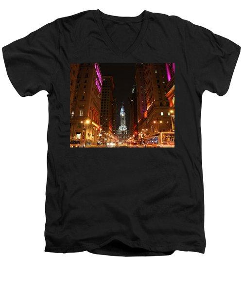 Philadelphia City Lights Men's V-Neck T-Shirt by Christopher Woods