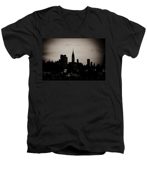 Men's V-Neck T-Shirt featuring the photograph City Silhouette by Sara Frank