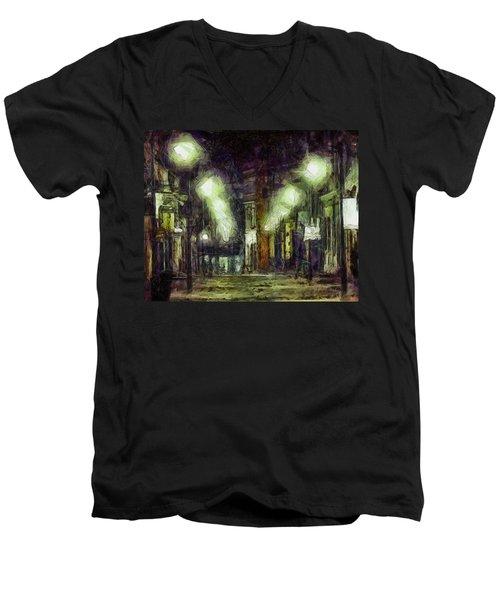 Men's V-Neck T-Shirt featuring the drawing City Street by Joe Misrasi