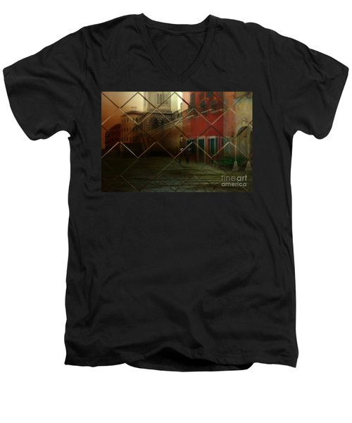Men's V-Neck T-Shirt featuring the digital art City Street by Liane Wright