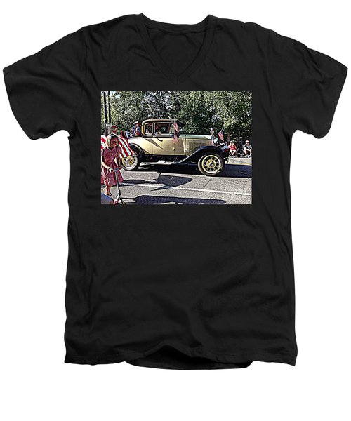 Men's V-Neck T-Shirt featuring the photograph Classic Children's Parade Classic Car East Millcreek Utah 1 by Richard W Linford
