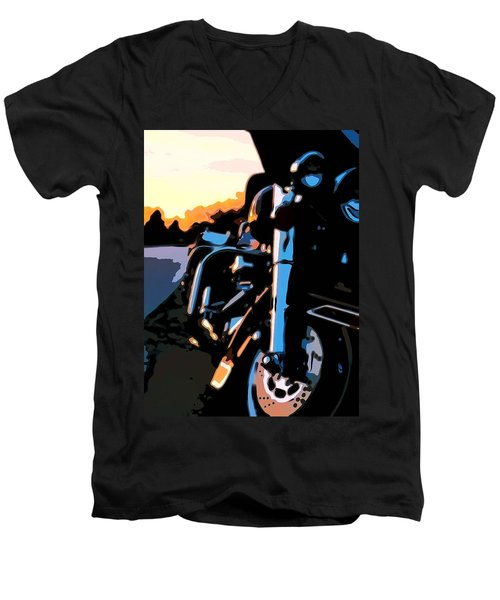Classic Harley Men's V-Neck T-Shirt by Michael Pickett