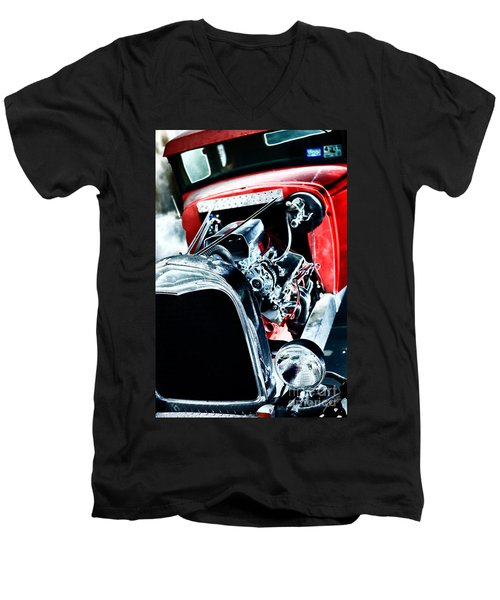Men's V-Neck T-Shirt featuring the digital art Classic Red by Erika Weber