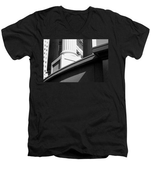 Classical Architectural Columns Black White Men's V-Neck T-Shirt