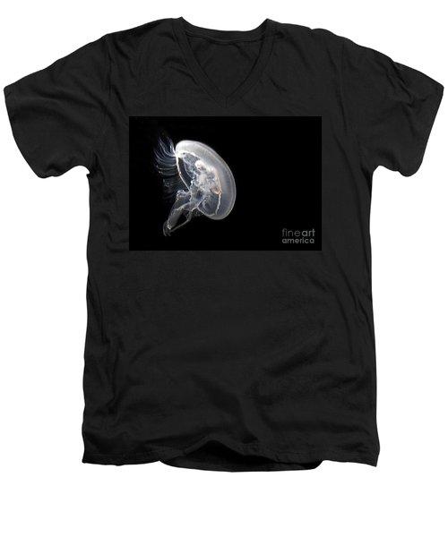 Clear Jelly Fish In Dark Water Art Prints Men's V-Neck T-Shirt by Valerie Garner