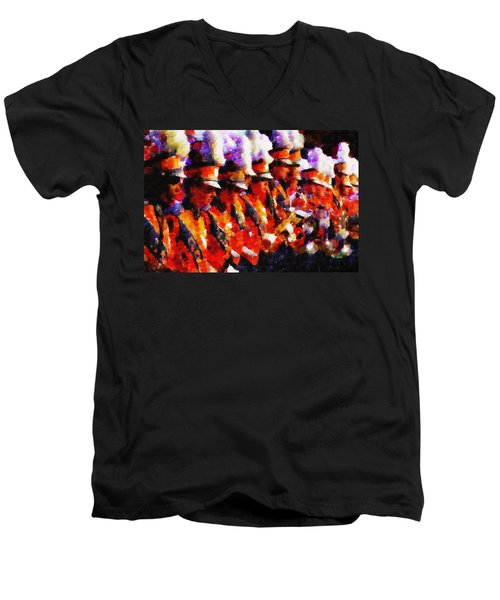 Clemson Tiger Band - Afremov-style Men's V-Neck T-Shirt