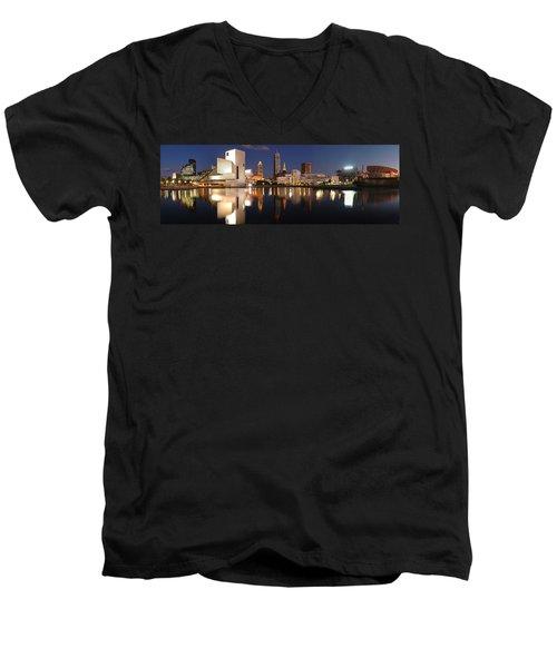 Cleveland Skyline At Dusk Men's V-Neck T-Shirt by Jon Holiday
