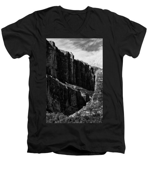 Cliffs In Contrast Men's V-Neck T-Shirt