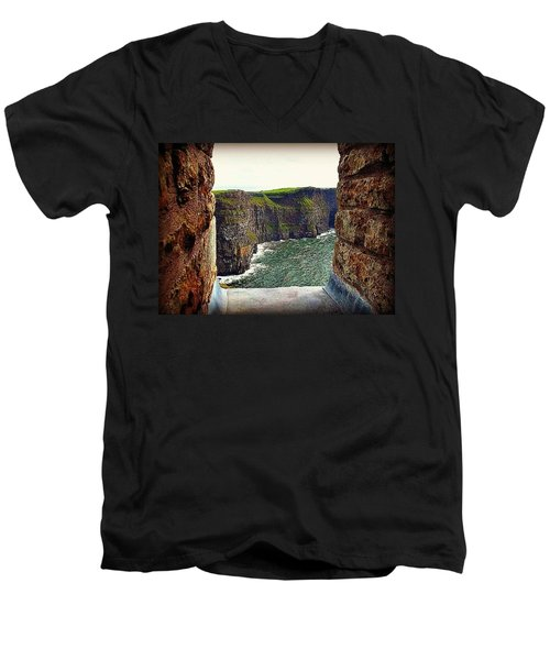 Cliffs Of Moher From O'brien's Tower Men's V-Neck T-Shirt by Tara Potts