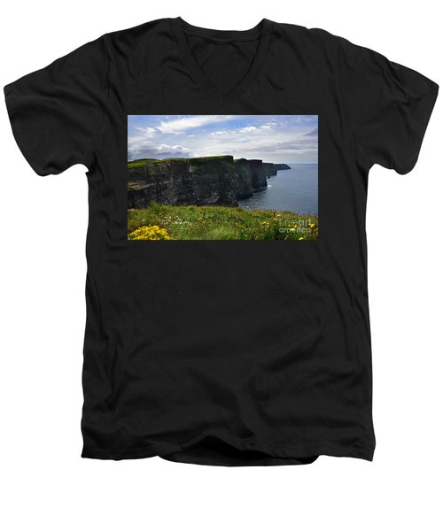 Cliffs Of Moher Looking South Men's V-Neck T-Shirt by RicardMN Photography
