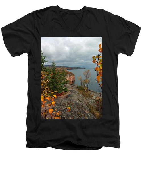 Men's V-Neck T-Shirt featuring the photograph Cliffside Fall Splendor by James Peterson