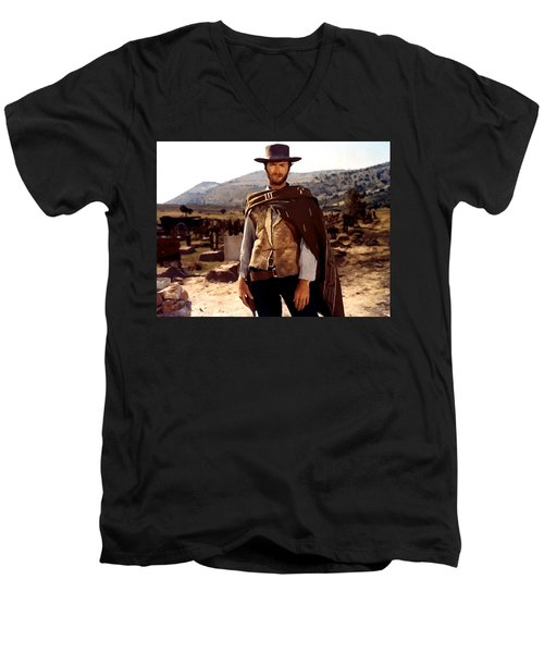 Clint Eastwood Outlaw Men's V-Neck T-Shirt by Gianfranco Weiss