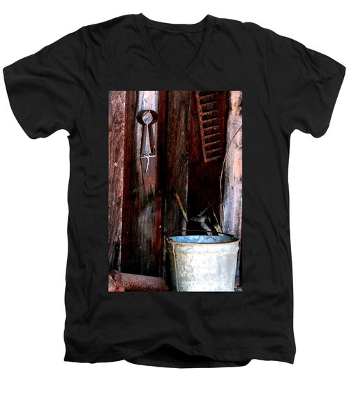 Men's V-Neck T-Shirt featuring the photograph Clippers And The Bucket by Lesa Fine