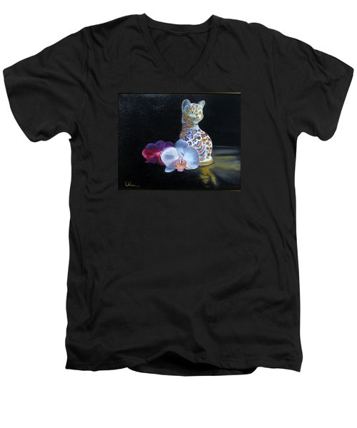 Cloisonne Cat Men's V-Neck T-Shirt by LaVonne Hand