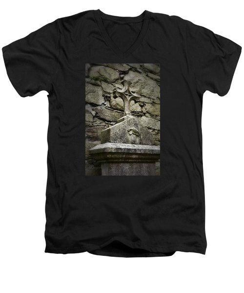 Cloister Cross At Jerpoint Abbey Men's V-Neck T-Shirt by Nadalyn Larsen