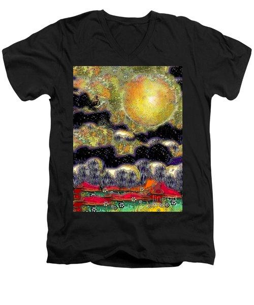 Clonescape Moon Men's V-Neck T-Shirt by Carol Jacobs