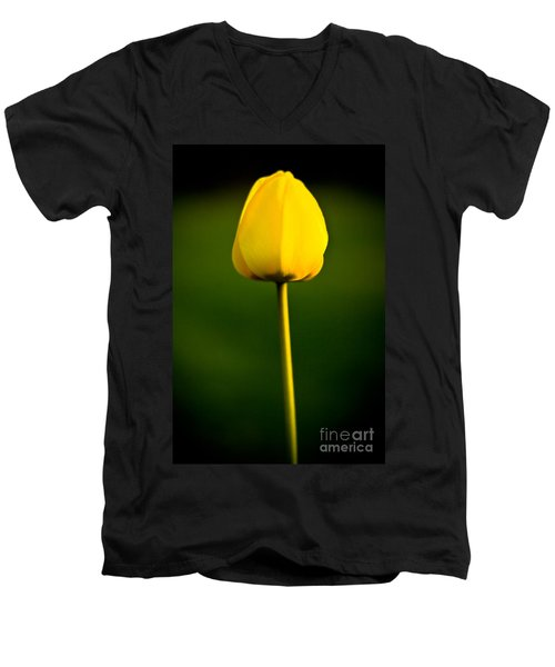 Men's V-Neck T-Shirt featuring the photograph Closed Yellow Flower by John Wadleigh