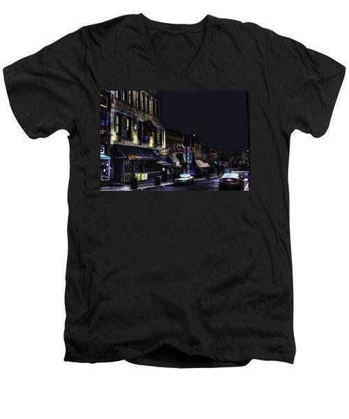 Memphis - Night - Closing Time On Beale Street Men's V-Neck T-Shirt
