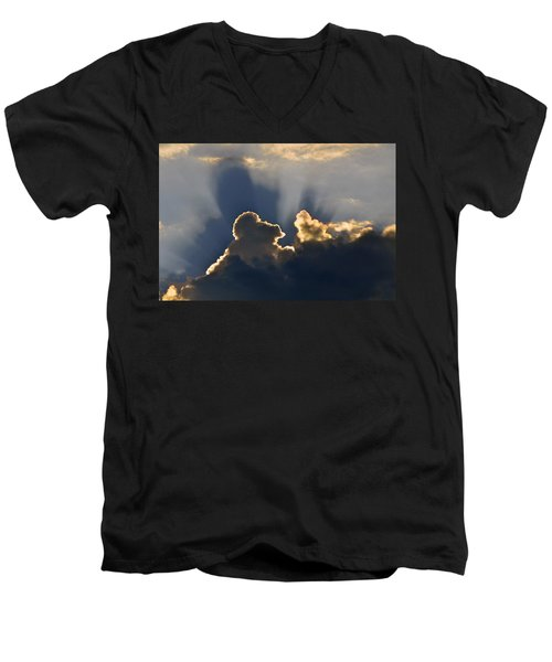 Men's V-Neck T-Shirt featuring the photograph Cloud Shadows by Charlotte Schafer