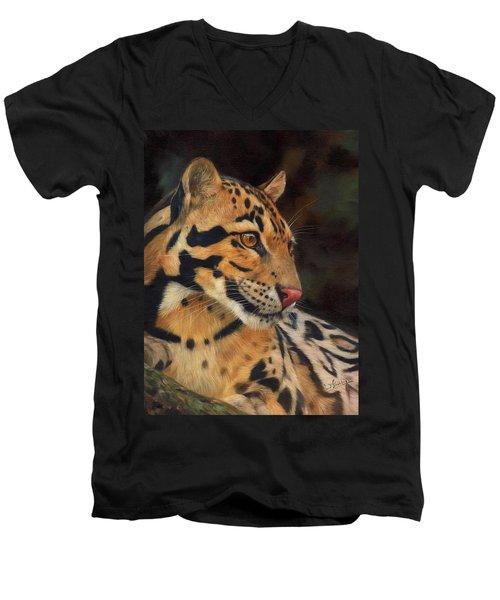 Clouded Leopard Men's V-Neck T-Shirt by David Stribbling