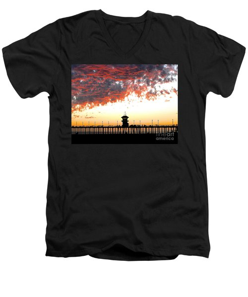 Men's V-Neck T-Shirt featuring the photograph Clouds On Fire by Margie Amberge