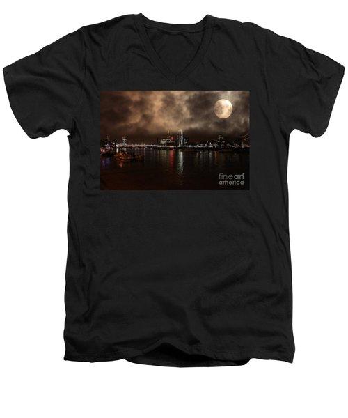 Clouds Over The River Thames Men's V-Neck T-Shirt by Doc Braham