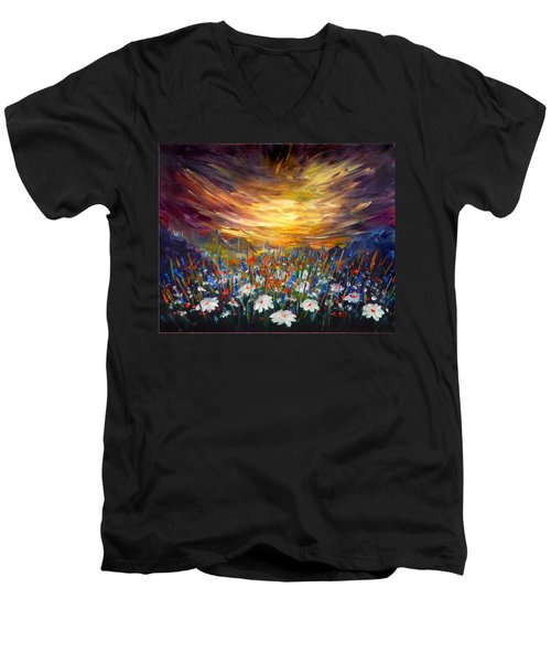 Men's V-Neck T-Shirt featuring the painting Cloudy Sunset In Valley by Lilia D