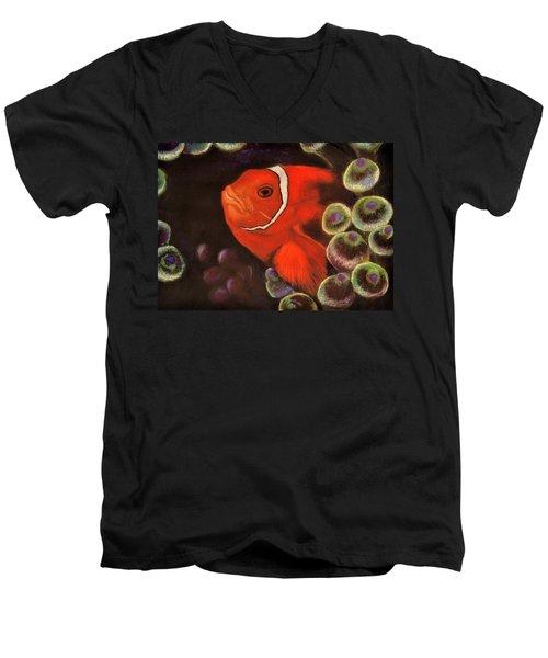 Clown Fish In Hiding  Pastel Men's V-Neck T-Shirt