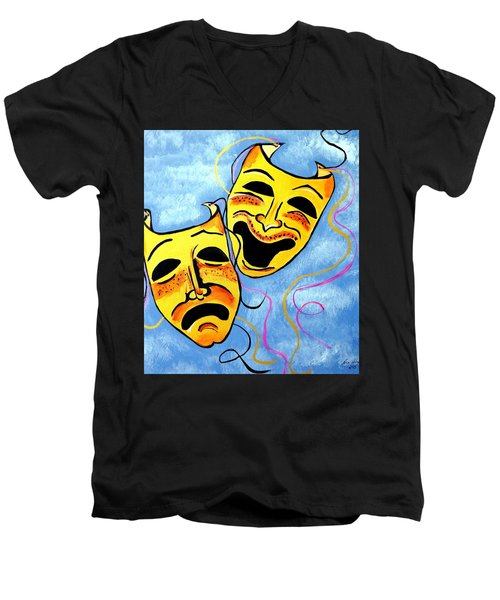 Men's V-Neck T-Shirt featuring the painting Comedy And Tragedy by Nora Shepley