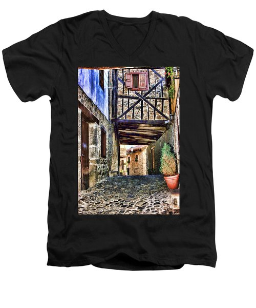 Cobble Streets Of Potes Spain By Diana Sainz Men's V-Neck T-Shirt