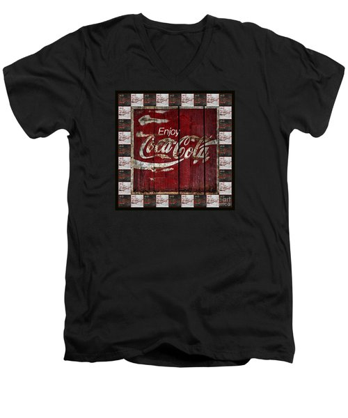 Coca Cola Sign With Little Cokes Border Men's V-Neck T-Shirt by John Stephens