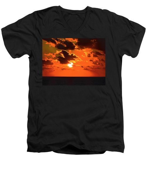 Men's V-Neck T-Shirt featuring the photograph Coco Cay Sunset by Jennifer Wheatley Wolf