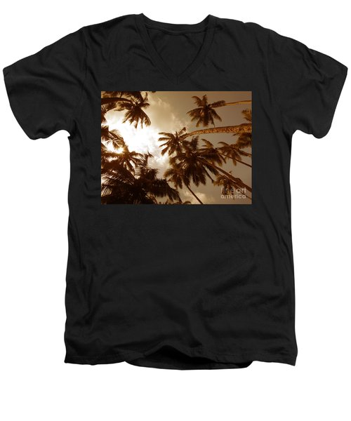 Coconut Palms Men's V-Neck T-Shirt by Mini Arora