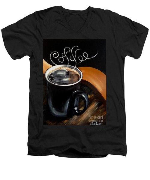 Coffee Break Men's V-Neck T-Shirt by Dani Abbott