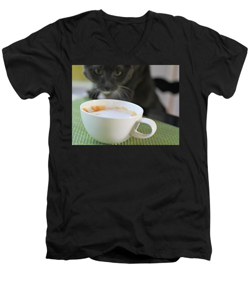 Coffee Cat Men's V-Neck T-Shirt