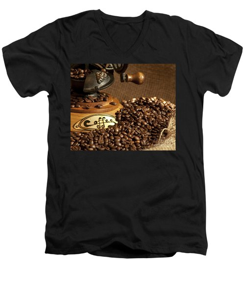 Coffee Grinder With Beans Men's V-Neck T-Shirt