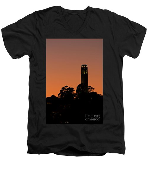 Men's V-Neck T-Shirt featuring the photograph Coit Tower Sunset by Kate Brown