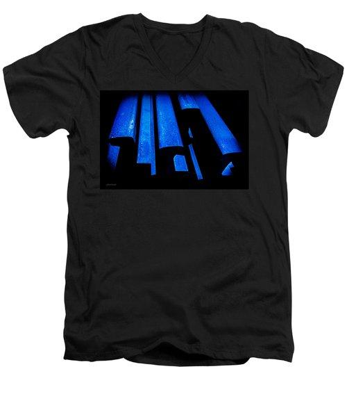 Cold Blue Steel Men's V-Neck T-Shirt by Steven Milner