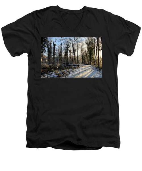 Men's V-Neck T-Shirt featuring the photograph Cold Morning by Felicia Tica