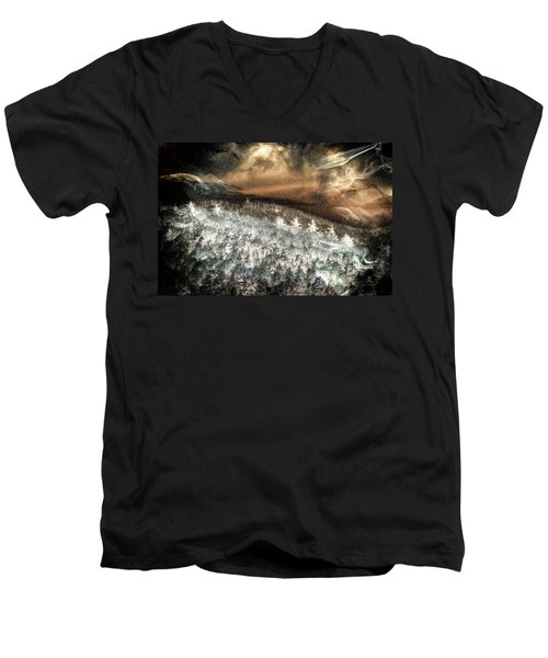 Cold Mountain Men's V-Neck T-Shirt by Tom Culver