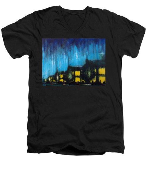 Cold Nights Warm Lights Men's V-Neck T-Shirt