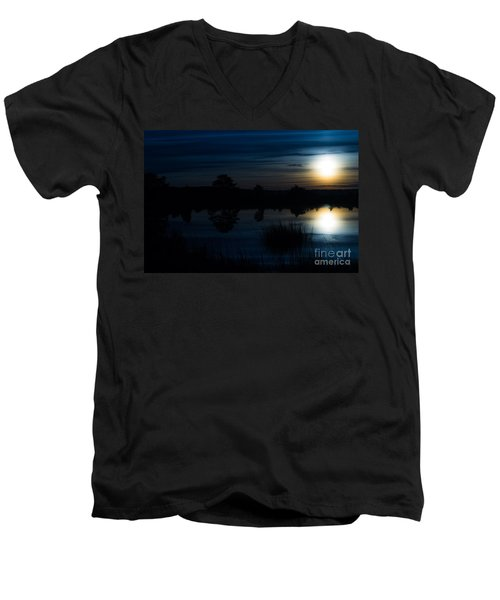 Men's V-Neck T-Shirt featuring the photograph Cold Winter Morning by Angela DeFrias