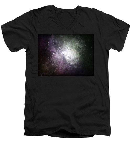 Men's V-Neck T-Shirt featuring the photograph Collision by Cynthia Lassiter