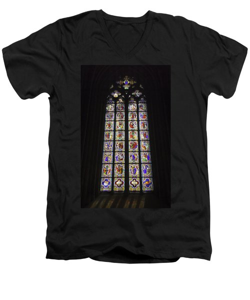 Cologne Cathedral Stained Glass Life Of Christ Men's V-Neck T-Shirt