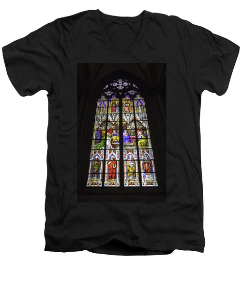 Cologne Cathedral Stained Glass Window Of Pentecost Men's V-Neck T-Shirt