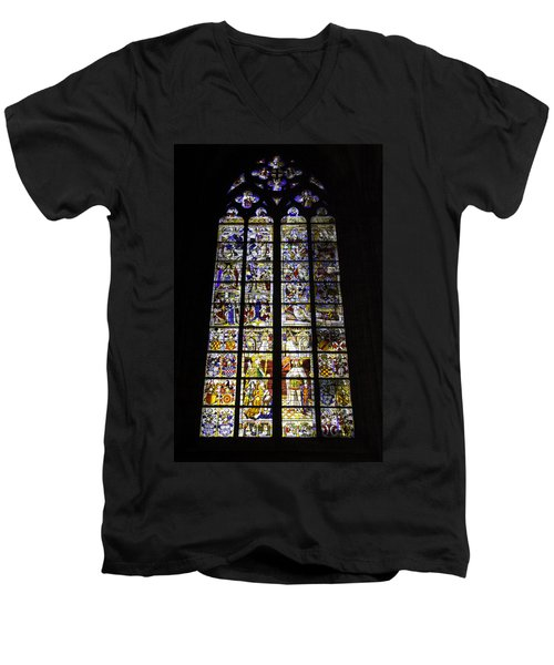 Cologne Cathedral Stained Glass Window Of St Peter And Tree Of Jesse Men's V-Neck T-Shirt