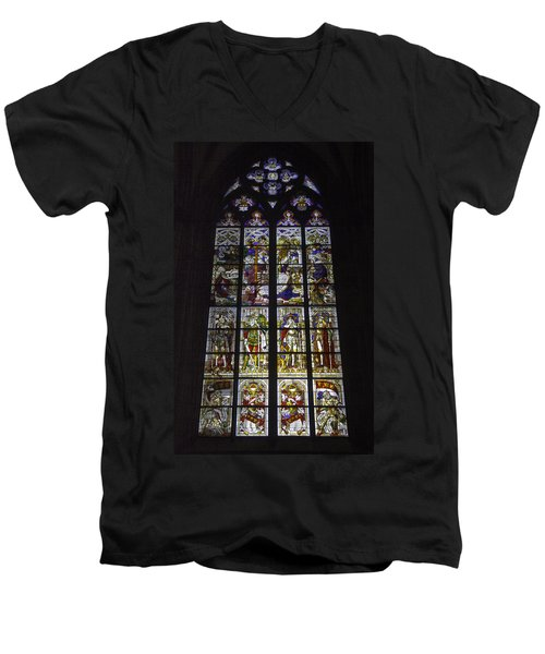 Cologne Cathedral Stained Glass Window Of The Nativity Men's V-Neck T-Shirt