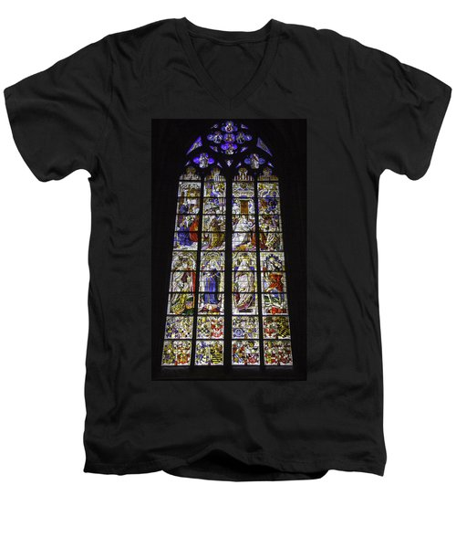 Cologne Cathedral Stained Glass Window Of The Three Holy Kings Men's V-Neck T-Shirt
